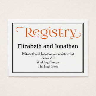 Orange and White Wedding Registry Card