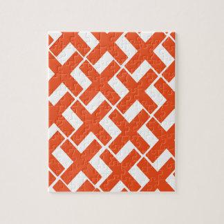Orange and White Xs Jigsaw Puzzle