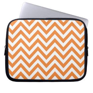 Orange and White Zigzag Chevron Pattern Laptop Sleeve