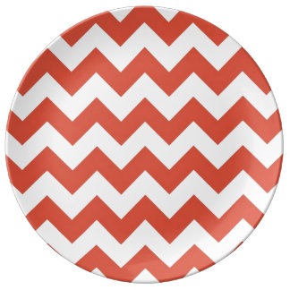 Orange and White Zigzag Porcelain Plates