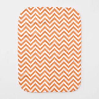 Orange and White Zigzag Stripes Chevron Pattern Baby Burp Cloth