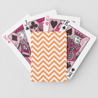 Orange and White Zigzag Stripes Chevron Pattern Bicycle Playing Cards