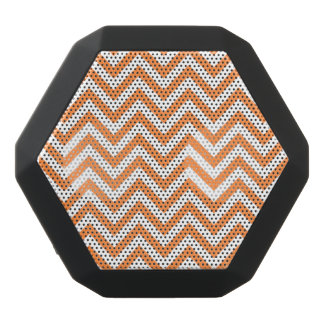 Orange and White Zigzag Stripes Chevron Pattern Black Bluetooth Speaker