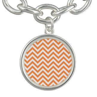 Orange and White Zigzag Stripes Chevron Pattern Bracelet