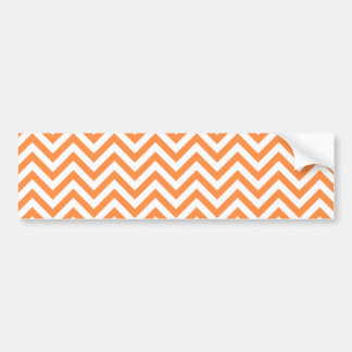 Orange and White Zigzag Stripes Chevron Pattern Bumper Sticker