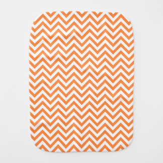 Orange and White Zigzag Stripes Chevron Pattern Burp Cloth