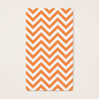 Orange and White Zigzag Stripes Chevron Pattern Business Card