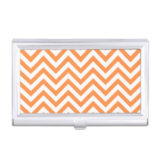 Orange and White Zigzag Stripes Chevron Pattern Business Card Holder