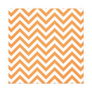 Orange and White Zigzag Stripes Chevron Pattern Canvas Print