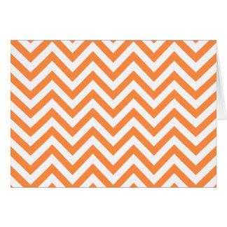 Orange and White Zigzag Stripes Chevron Pattern Card
