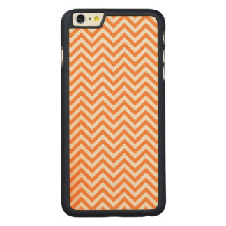 Orange and White Zigzag Stripes Chevron Pattern Carved Maple iPhone 6 Plus Case