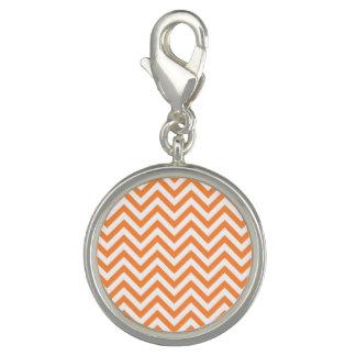Orange and White Zigzag Stripes Chevron Pattern Charms