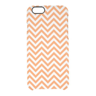Orange and White Zigzag Stripes Chevron Pattern Clear iPhone 6/6S Case