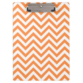 Orange and White Zigzag Stripes Chevron Pattern Clipboard