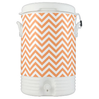 Orange and White Zigzag Stripes Chevron Pattern Cooler