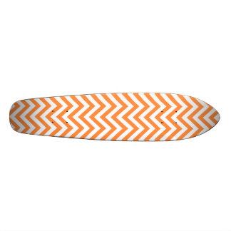 Orange and White Zigzag Stripes Chevron Pattern Custom Skateboard