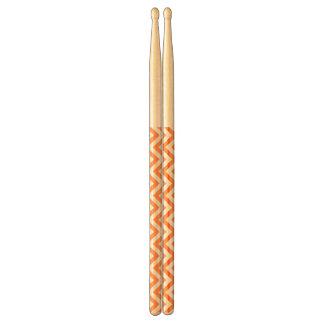Orange and White Zigzag Stripes Chevron Pattern Drumsticks