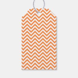 Orange and White Zigzag Stripes Chevron Pattern Gift Tags