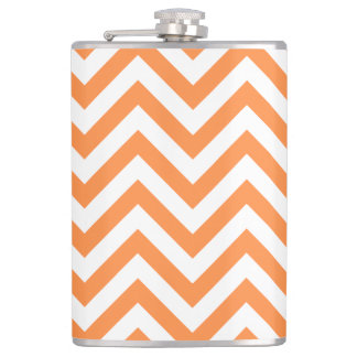 Orange and White Zigzag Stripes Chevron Pattern Hip Flask