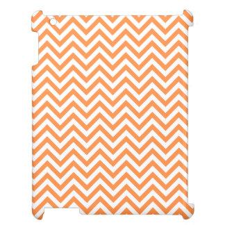 Orange and White Zigzag Stripes Chevron Pattern iPad Cover