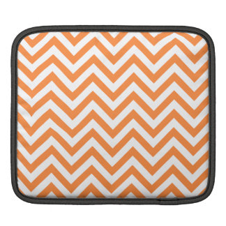 Orange and White Zigzag Stripes Chevron Pattern iPad Sleeve