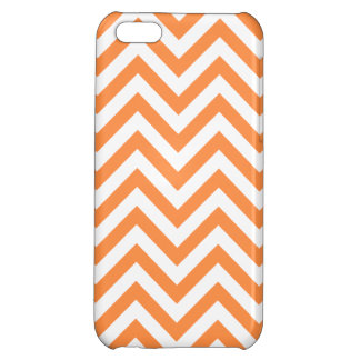 Orange and White Zigzag Stripes Chevron Pattern iPhone 5C Cases