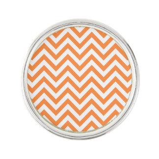 Orange and White Zigzag Stripes Chevron Pattern Lapel Pin
