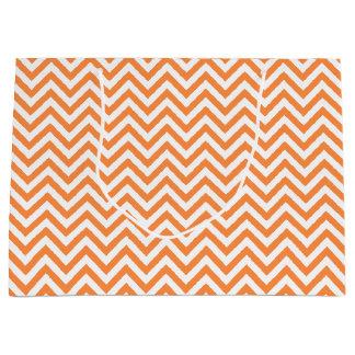 Orange and White Zigzag Stripes Chevron Pattern Large Gift Bag