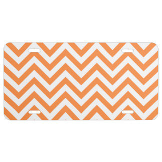 Orange and White Zigzag Stripes Chevron Pattern License Plate