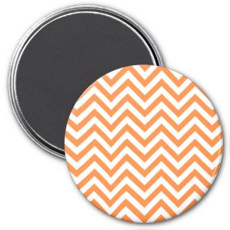 Orange and White Zigzag Stripes Chevron Pattern Magnet
