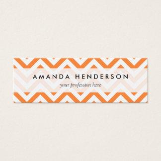 Orange and White Zigzag Stripes Chevron Pattern Mini Business Card