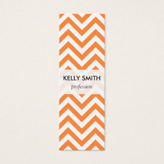 Orange and White Zigzag Stripes Chevron Pattern Mini Business Card