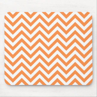 Orange and White Zigzag Stripes Chevron Pattern Mouse Pad
