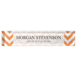 Orange and White Zigzag Stripes Chevron Pattern Name Plate