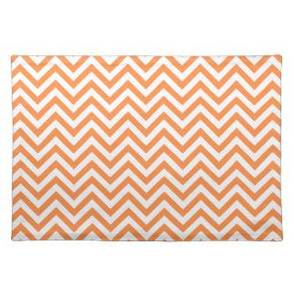 Orange and White Zigzag Stripes Chevron Pattern Placemat