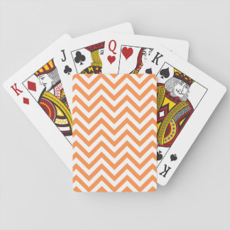 Orange and White Zigzag Stripes Chevron Pattern Playing Cards