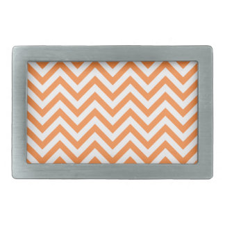Orange and White Zigzag Stripes Chevron Pattern Rectangular Belt Buckles