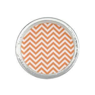 Orange and White Zigzag Stripes Chevron Pattern Ring