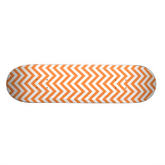 Orange and White Zigzag Stripes Chevron Pattern Skate Board Decks