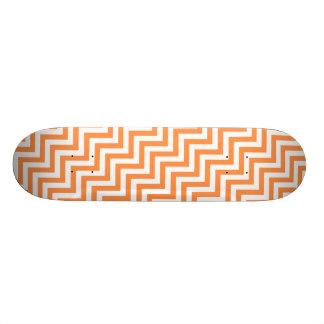 Orange and White Zigzag Stripes Chevron Pattern Skateboard