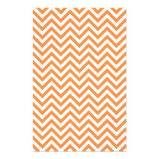 Orange and White Zigzag Stripes Chevron Pattern Stationery