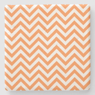 Orange and White Zigzag Stripes Chevron Pattern Stone Coaster
