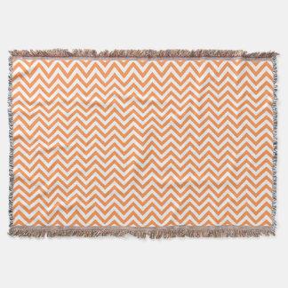 Orange and White Zigzag Stripes Chevron Pattern Throw Blanket
