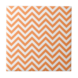 Orange and White Zigzag Stripes Chevron Pattern Tile