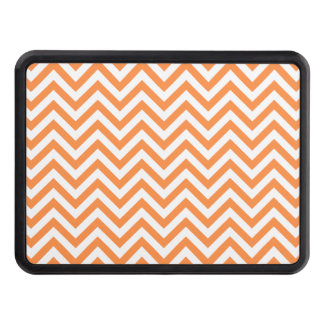 Orange and White Zigzag Stripes Chevron Pattern Trailer Hitch Cover