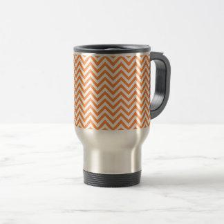 Orange and White Zigzag Stripes Chevron Pattern Travel Mug
