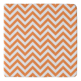 Orange and White Zigzag Stripes Chevron Pattern Trivet