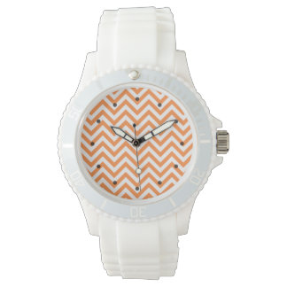 Orange and White Zigzag Stripes Chevron Pattern Watch