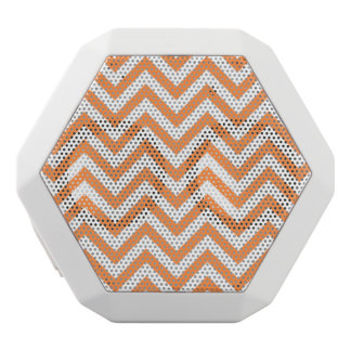 Orange and White Zigzag Stripes Chevron Pattern White Bluetooth Speaker
