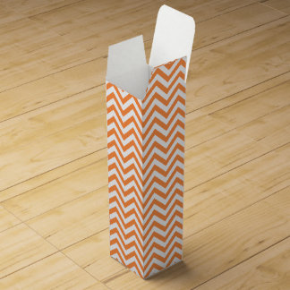 Orange and White Zigzag Stripes Chevron Pattern Wine Gift Box
